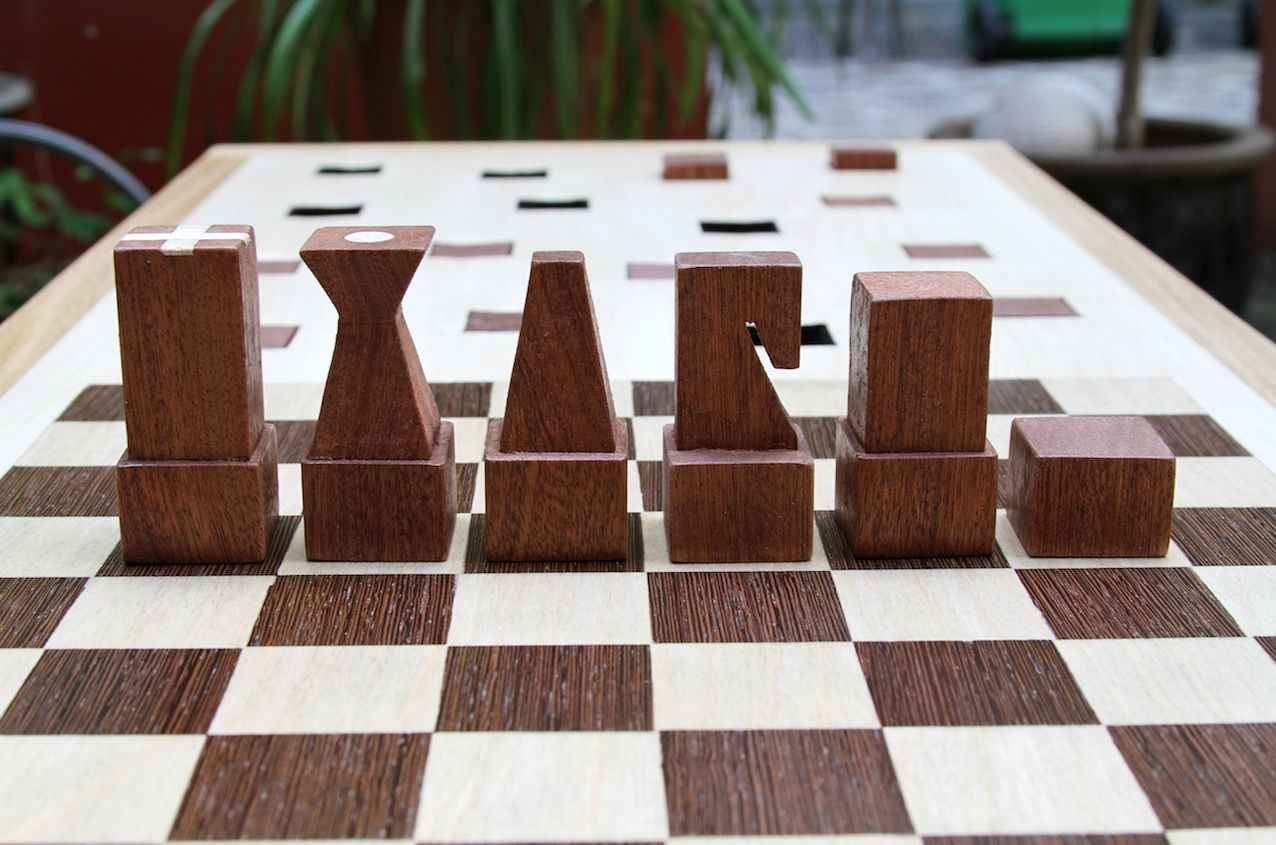 The Congo Squares combines an outdoor seat and a chess set
