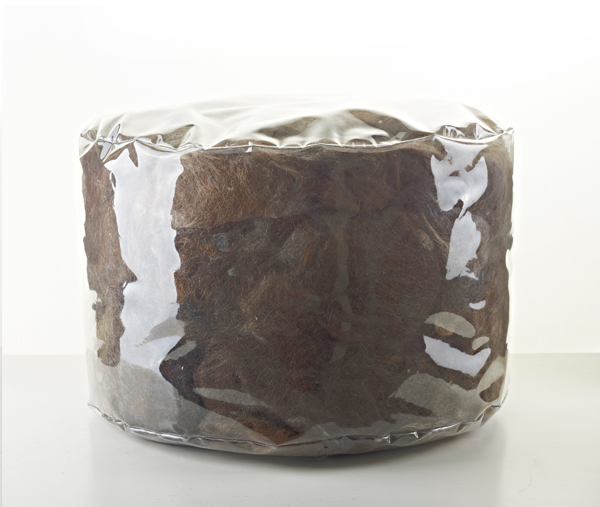 Bare Hair poufs made from human hair
