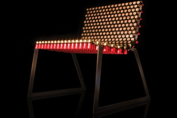 Fully Loaded Chair made from shotgun bullets