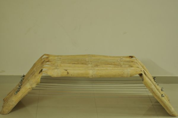 Bambosa seat crafted from a combination of bamboo and steel