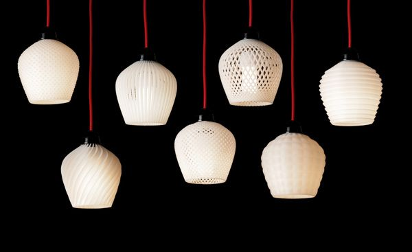 Dentelle line of lamp shades crafted by 3D printing
