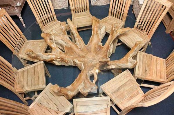 Designers create tables out of dead teak tree roots