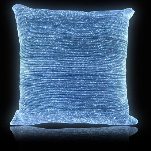 Glowing Bed Cover powered by embedded fiber optics