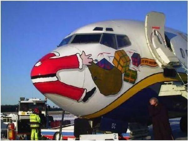 Santa hit by plane