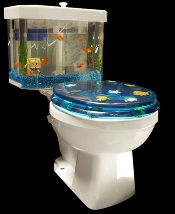 Aquarium toilet cover and tank