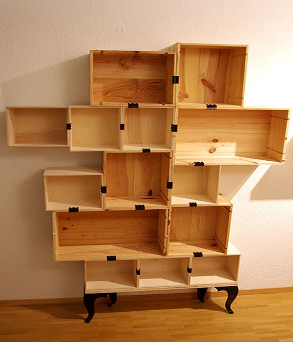Designers Create Diy Wine Shelf From Wine Boxes Amp Old Table