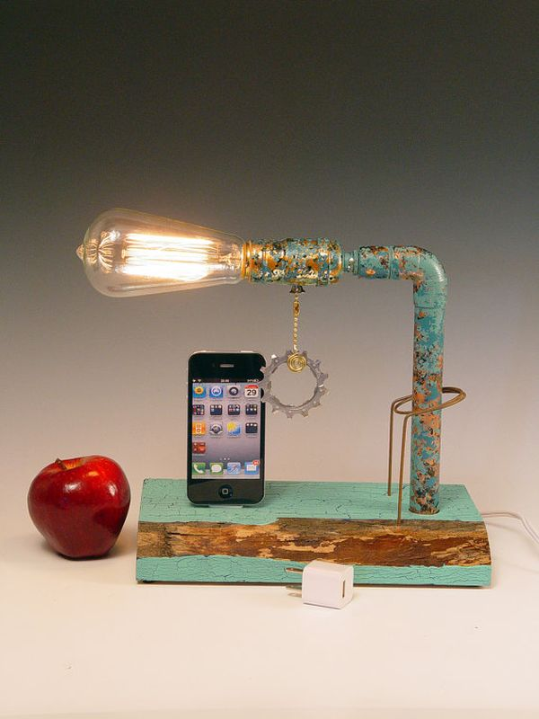 Steampunk iPhone dock made from recycled wood
