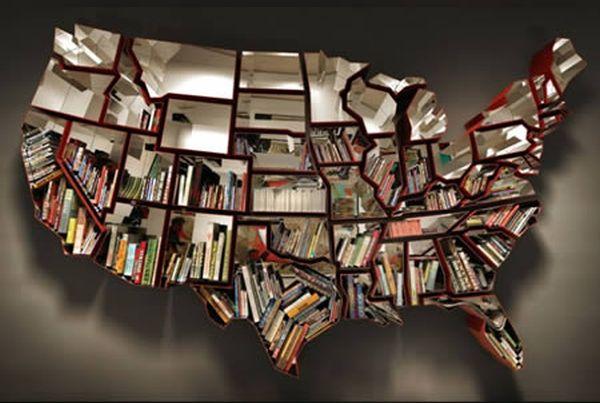 US Map Bookshelf