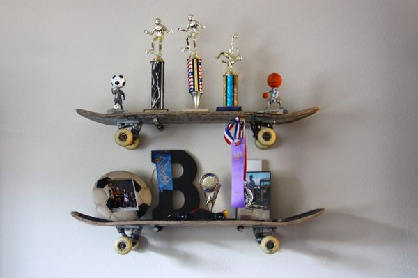 Brook Wilhelmsen crafts a shelving system from skateboards for his 10-year old son_1