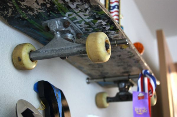 Brook Wilhelmsen crafts a shelving system from skateboards for his 10-year old son_3