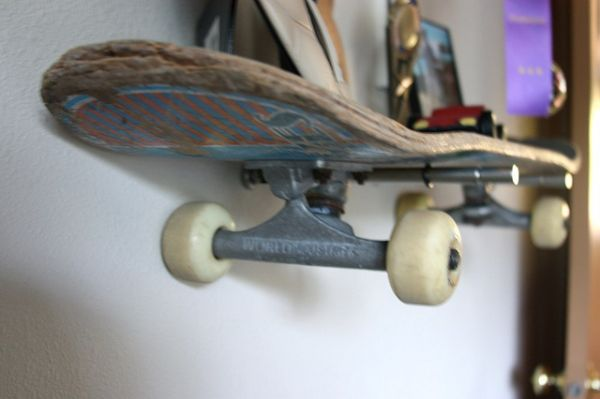 Brook Wilhelmsen crafts a shelving system from skateboards for his 10-year old son_4