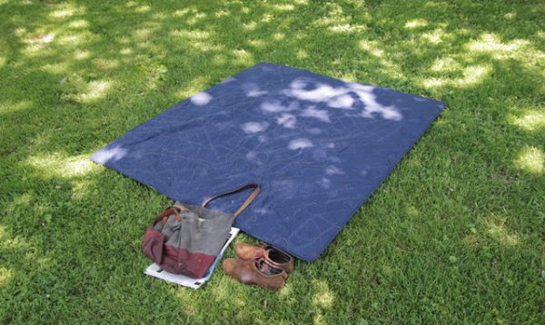 Cotton Picnic Blanket having a Hand-Stitched Map of Brooklyn_2