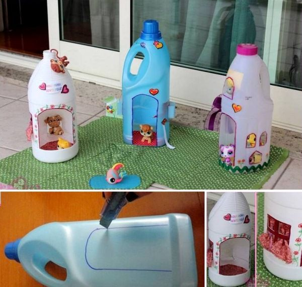 DIY doll houses made from plastic containers