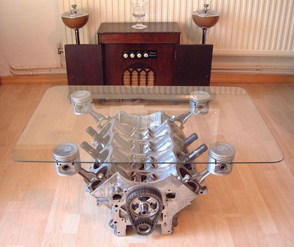 V8 Engine Glass Table: 10 Dashing Automotive Furniture Designs