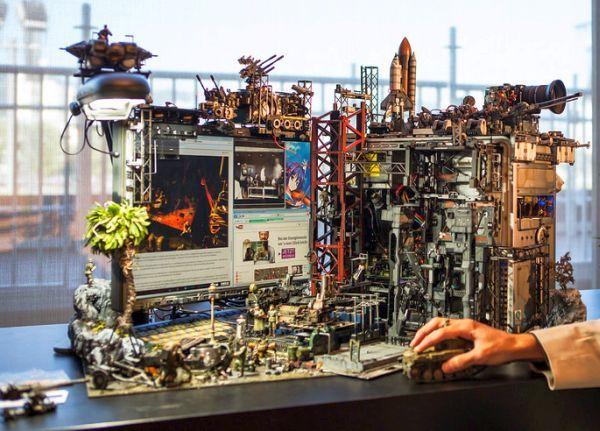 diorama setup by Hiroto Ikeuchi assembling PC case mods together_12