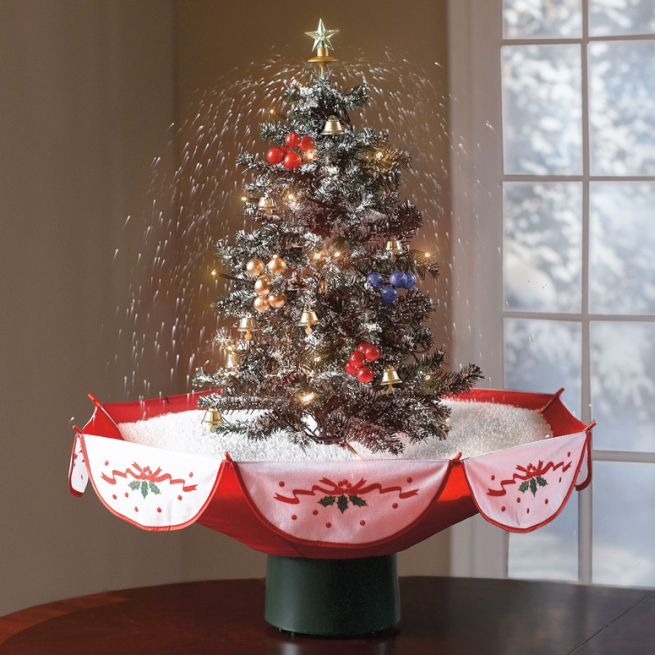 Snowing Christmas Tree with red umbrella base