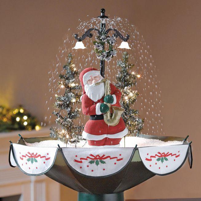 tabletop snowing santa