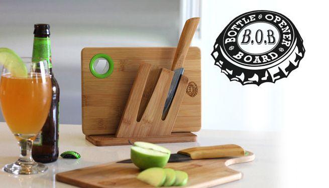 B.O.B (Bottle Opener Board) Cutting Board + Bottle Opener