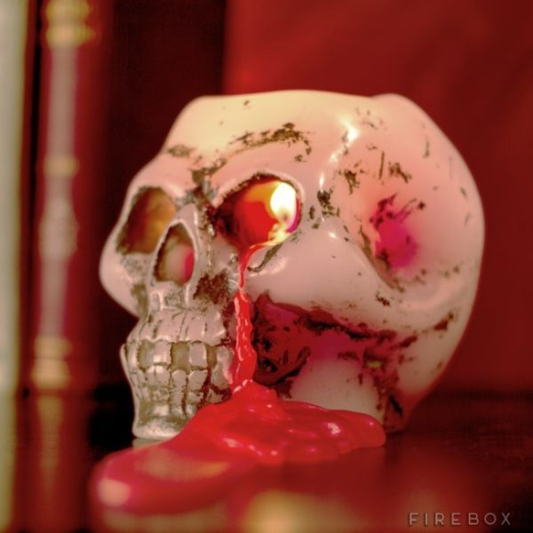 Bleeding Skull Candle With Its Red Wax Mimics Blood
