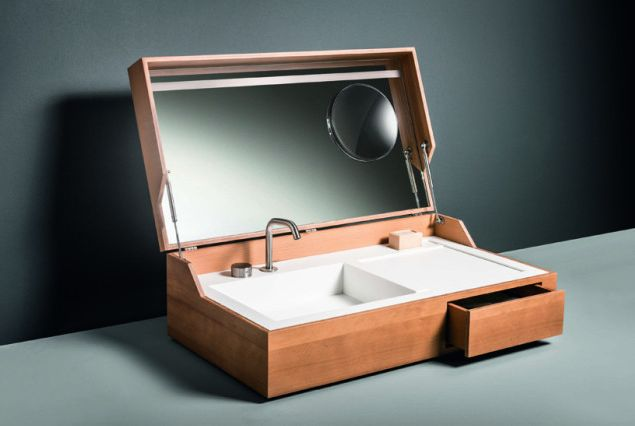 Hidden a bathroom sink that can be concealed inside a box - Hidden camera in bathroom accessories ...