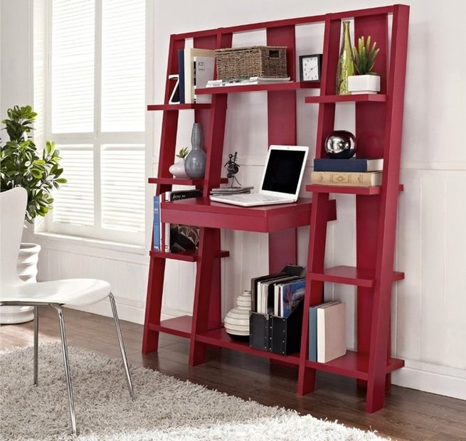 Ladder Bookcase with Desk_3