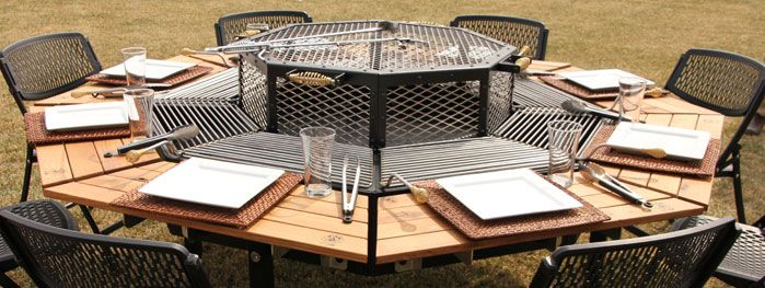 Octagonal Jag Grill BBQ Table - Grill table fire pit all in one