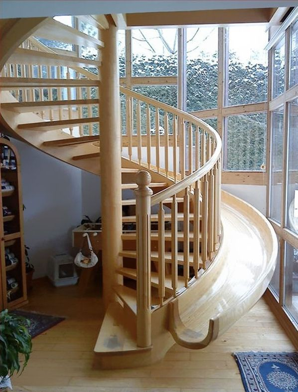 Staircase with a slide