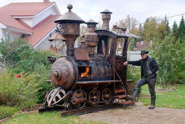 Steampunk Locomotive Engine BBQ Grill