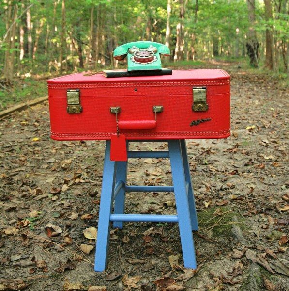 Re-purposed Vintage Suitcase Side Table