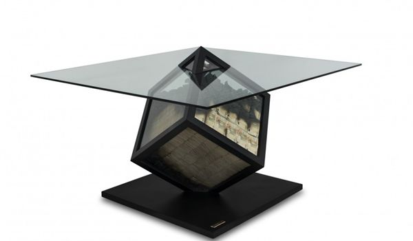 Table With Glass Cube That Contains Cash_2