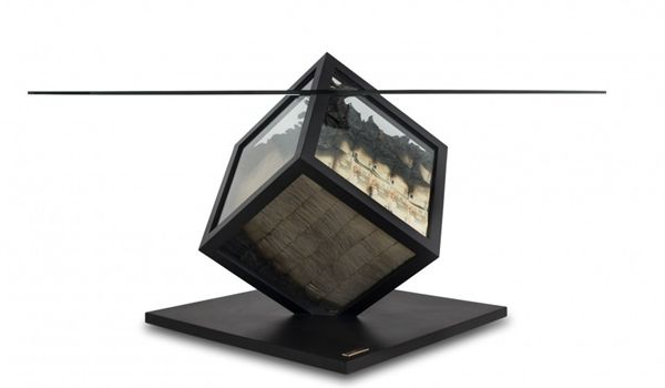 Table With Glass Cube That Contains Cash_3