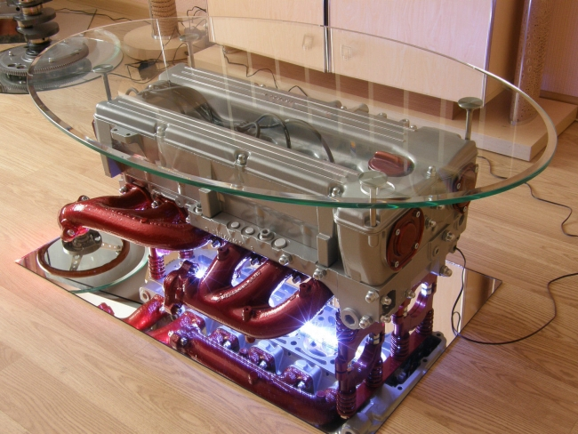 Coffee Table Made From Mercedes Benz Engine With Round Glass Top