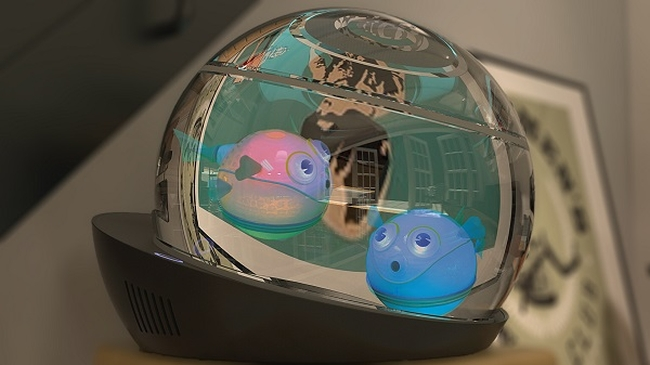 World 39 s first wireless aquarium with robotic lumipuff fish for Robo fish tank