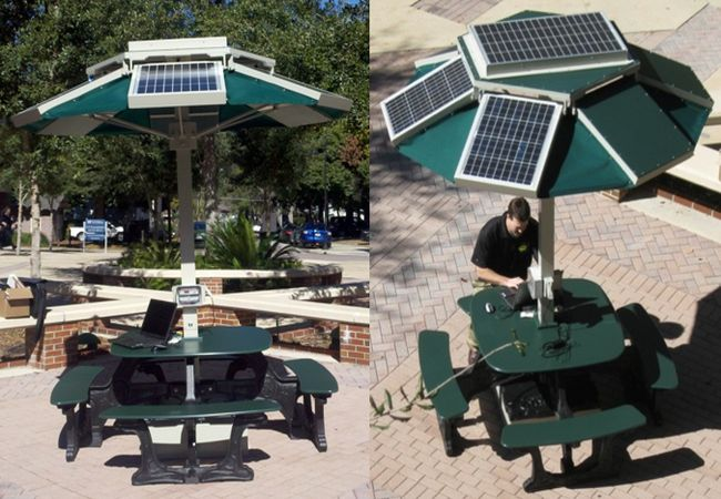 Solar PowerDok Picnic Table By EnerFusion - Solar picnic table