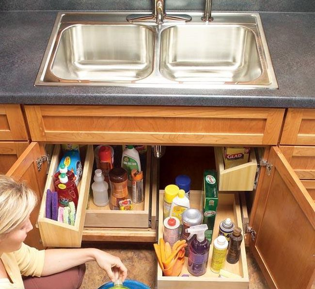 Build Handy Under Sink Storage Tray