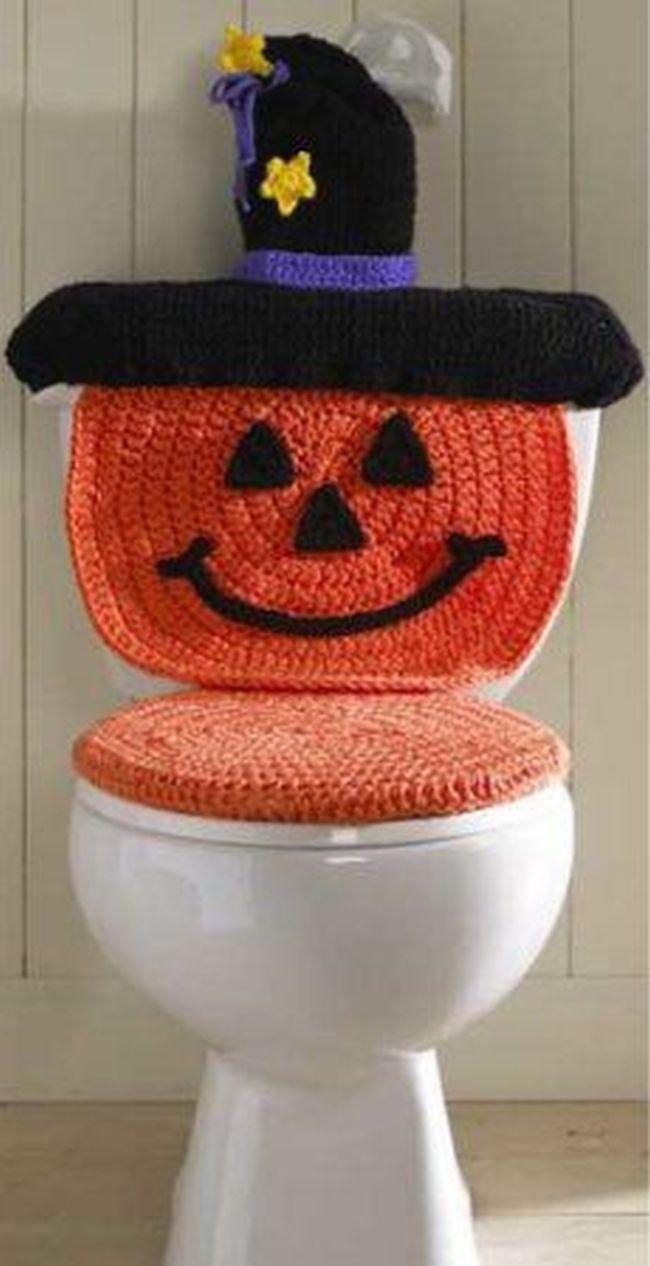 DIY Pumpkin Halloween Toilet Seat Cover