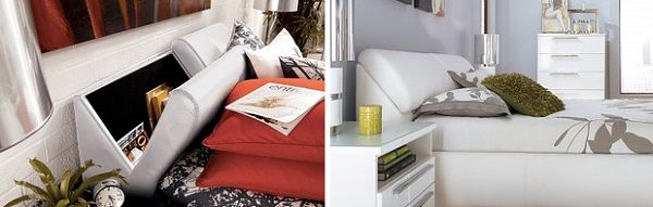 Utilise the space in the headboard of the bed_10