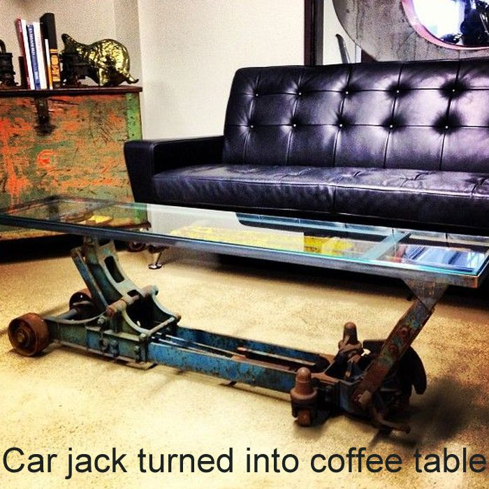 Car jack turned into coffee table_5
