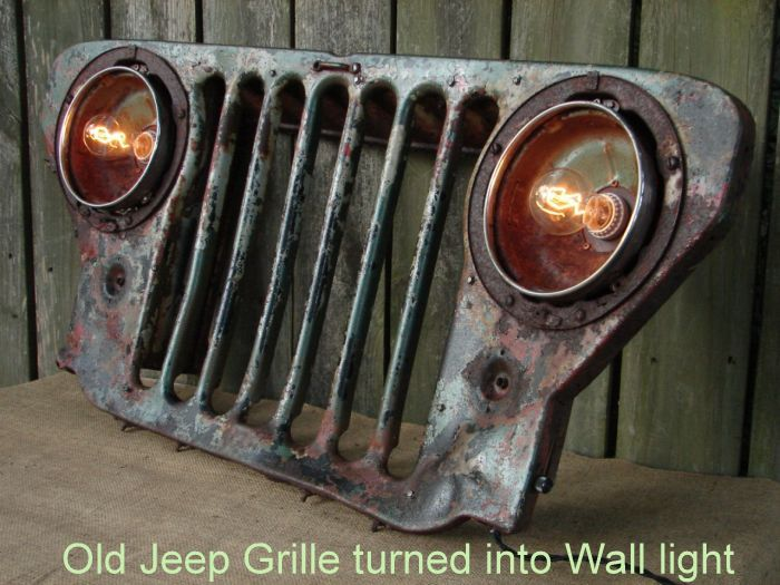 Old Jeep Grille turned into Wall light_4