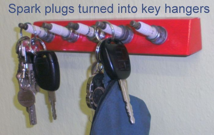 Spark plugs turned into key hangers_7