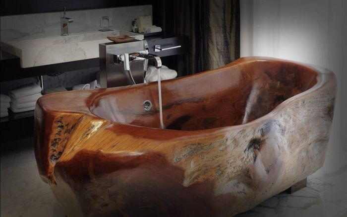 Rustic Wooden Bathtub