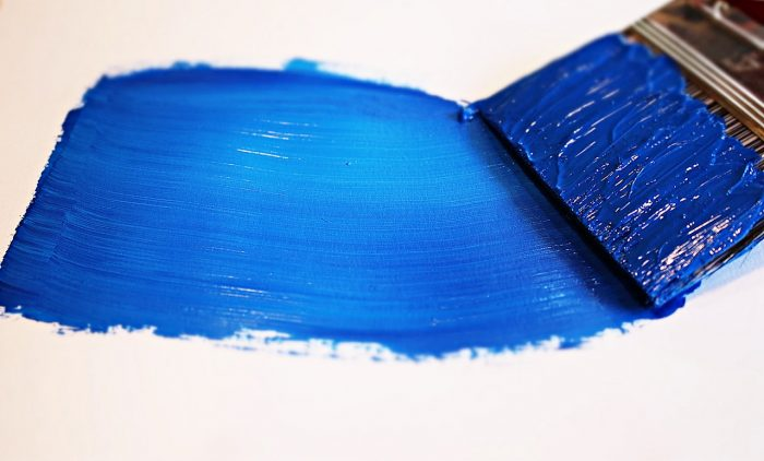 blue paint on wall