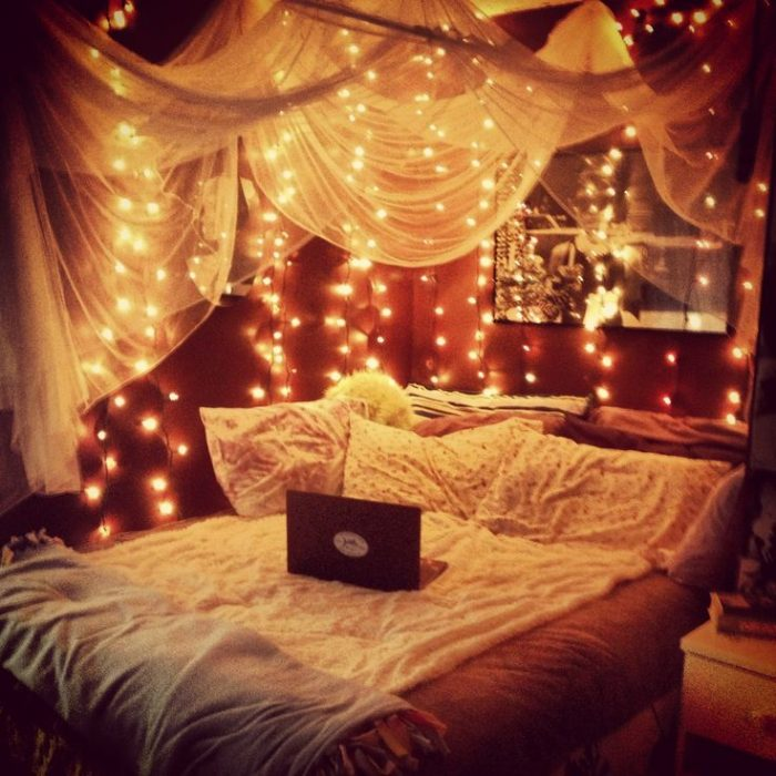 canopy bed with fairy lights