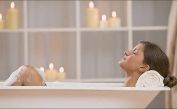 relaxing in a bathtub