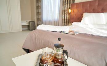 breakfast table near bed